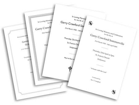 Order of Church Service Printing